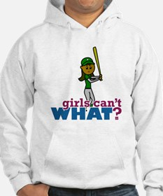 Girl Softball Player in Green Hoodie