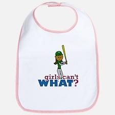 Girl Softball Player in Green Bib