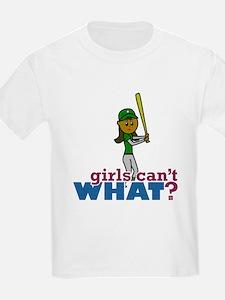 Girl Softball Player in Green T-Shirt