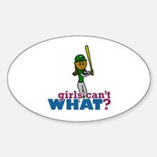 Girl Softball Player in Green Sticker (Oval)