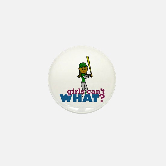 Girl Softball Player in Green Mini Button