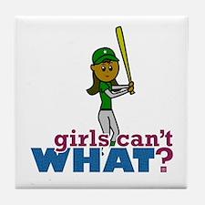 Girl Softball Player in Green Tile Coaster