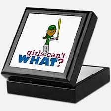Girl Softball Player in Green Keepsake Box