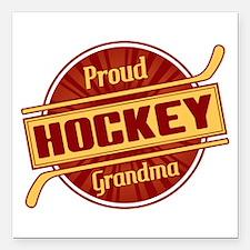 "Proud Hockey Grandma Square Car Magnet 3"" x 3"""