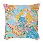 Art Nouveau Lady Woven Throw Pillow