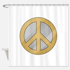 Gold and Silver Peace Sign Shower Curtain