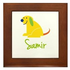Samir Loves Puppies Framed Tile