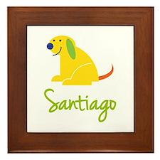 Santiago Loves Puppies Framed Tile