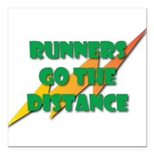 "Runners Go the Distance Square Car Magnet 3"" x 3"""