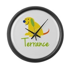 Terrance Loves Puppies Large Wall Clock