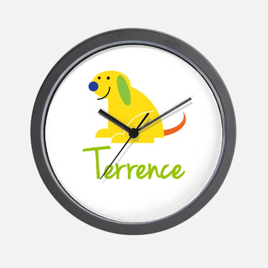 Terrence Loves Puppies Wall Clock