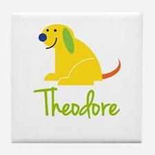 Theodore Loves Puppies Tile Coaster