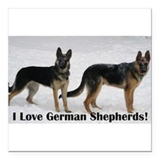 "I love German Shepherds Square Car Magnet 3"" x 3"""