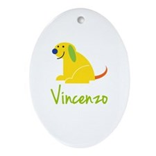 Vincenzo Loves Puppies Ornament (Oval)