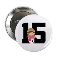 "Softball Player Uniform Number 15 2.25"" Button"