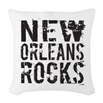New Orleans Rocks Woven Throw Pillow