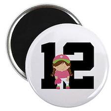 Softball Player Uniform Number 12 Magnet