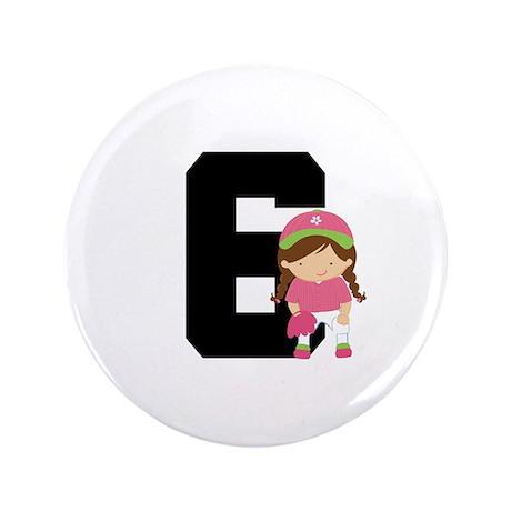 "Softball Player Uniform Number 6 3.5"" Button"