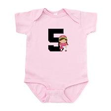 Softball Player Uniform Number 5 Infant Bodysuit