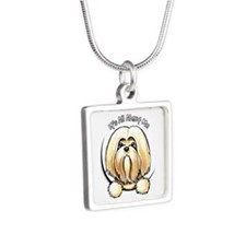 Lhasa Apso IAAM Silver Square Necklace