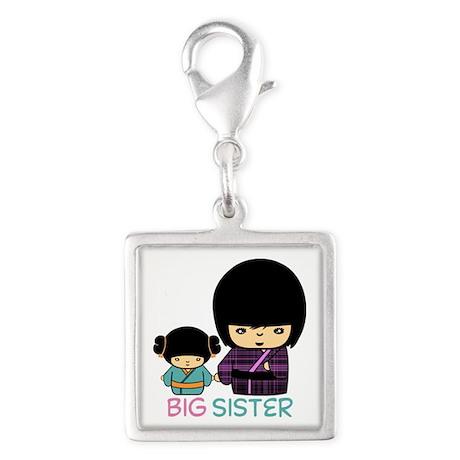 Big Sister Silver Square Charm