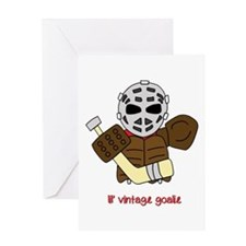 Lil Vintage Hockey Goalie Greeting Card