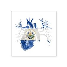 El Salvador Flag in Real heart Sticker