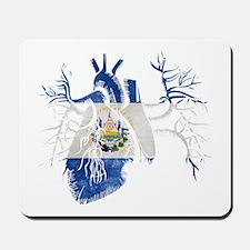 El Salvador Flag in Real heart Mousepad
