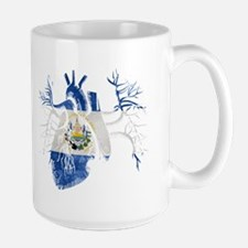 El Salvador Flag in Real heart Mug
