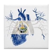 El Salvador Flag in Real heart Tile Coaster