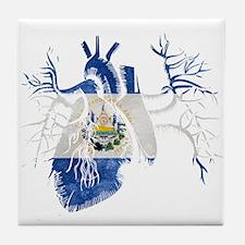 El Salvador Flag in Real heart Tile Coaster