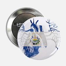 """El Salvador Flag in Real heart 2.25"""" Button"""