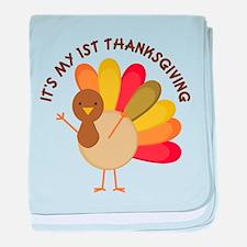 My 1st Thanksgiving Baby Turkey baby blanket