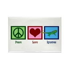 Peace Love Iguanas Rectangle Magnet