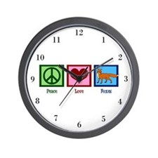 Peace Love Foxes Wall Clock