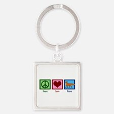 Peace Love Foxes Square Keychain