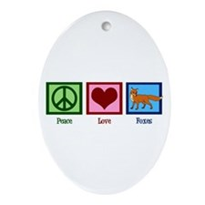 Peace Love Foxes Ornament (Oval)