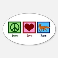 Peace Love Foxes Sticker (Oval)
