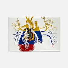 Ecuador Flag in Real heart Rectangle Magnet