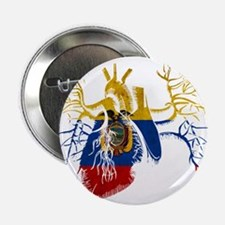 "Ecuador Flag in Real heart 2.25"" Button"