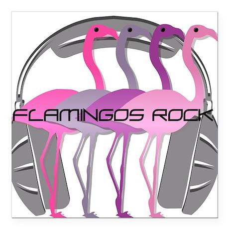 "Flamingos Rock Square Car Magnet 3"" x 3"""