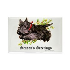 Season's Greetings Scottie Rectangle Magnet