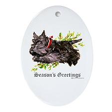 Season's Greetings Scottie Oval Ornament
