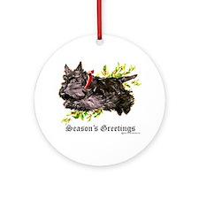 Season's Greetings Scottie Ornament (Round)