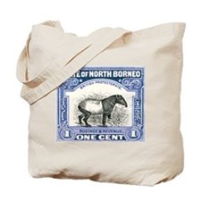 Antique 1904 North Borneo Tapir Postage Stamp Tote