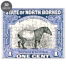 Antique 1904 North Borneo Tapir Postage Stamp Puzz