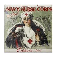 Vintage Navy Nurse Corps 1908 Tile Coaster
