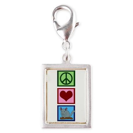 Peace Love Alpacas Silver Portrait Charm