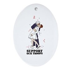 Support Our Troops Ornament (Oval)