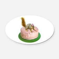 Squirrel on Cake Oval Car Magnet